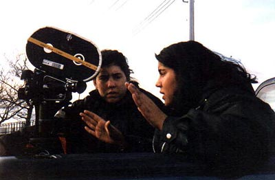 Cinematographer Erin King with director Nisha Ganatra on the set of Mata Films' Chutney Popcorn - 2000
