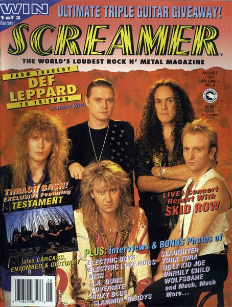 Joe Elliott, Rick Savage, Rick Allen, Phil Collen - Screamer Magazine Cover [United States] (August 1992)