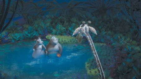 "Melman (Left to right) A nighttime romantic moment between Gloria the Hippo (JADA PINKETT SMITH) and watering hole lothario Moto Moto (will.i.am) is interrupted by  (DAVID SCHWIMMER) in DreamWorks' ""Madagascar: Escape 2 Africa."" Photo cre"
