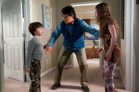 The Spy Next Door Ian (Will Shadley, left), Bob Ho (Jackie Chan, center) and Farren (Madeline Carroll, right) in THE SPY NEXT DOOR. Photo credit: Colleen Hayes