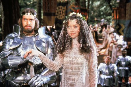 Guinevere Nigel Terry as Arthur and Cherie Lunghi as  in Excalibur (1981)