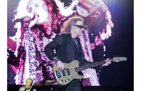 Tom Hamilton Aerosmith lands in Laval. Aerosmith performed Tuesday, July 10, 2012 at Laval's Centre de la nature.