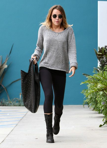 Miley Cyrus braved the cooler weather yesterday, April 24, after leaving her Pilates class in Studio City