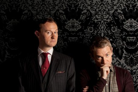 Mark Gatiss  as Mycroft Holmes and Martin Freeman as Dr.John Watson in Sherlock (2010)