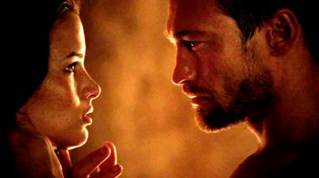 Katrina Law Andy Whitfield as Spartacus and  as Mira in Spartacus: Blood and Sand