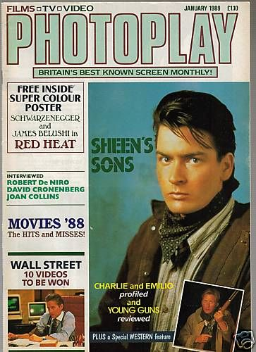 Charlie Sheen - Photoplay Magazine [United Kingdom] (January 1989)