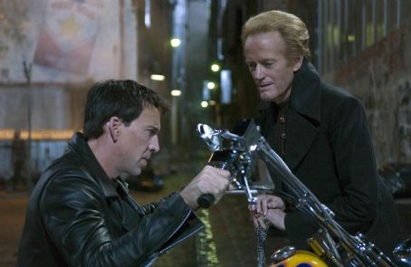 Peter Fonda Nicolas Cage (left) and  (right) star in Columbia Pictures' Ghost Rider. Photo By: Jasin Boland