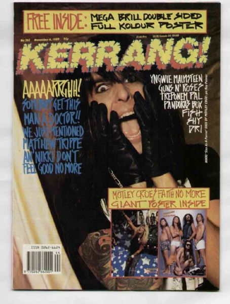 Nikki Sixx - Kerrang Magazine Cover [United Kingdom] (4 November 1989)