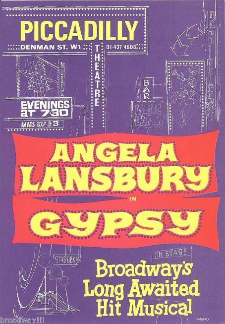 Angela Lansbury - london poster for ''gypsy'' 1974 starring angela lansbury,