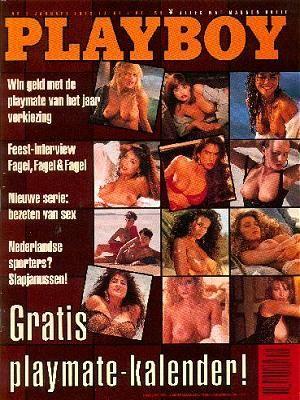 Morgan Fox, Nancy Rahmann, Christy Thom, Linda Zwaan, Katrien Vergote, Sofie Vergote, Gwendolyn Boot, Corinna Harney, Samantha Dorman, Kerri Kendall, Wendy Hamilton - Playboy Magazine Cover [Netherlands] (January 1992)