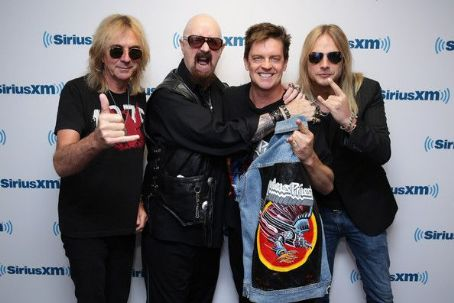 Jim Breuer Glenn Tipton, Rob Halford and Richie Faulkner along with host  attend SiriusXM's Town Hall series with Judas Priest on July 8, 2014 in New York City.