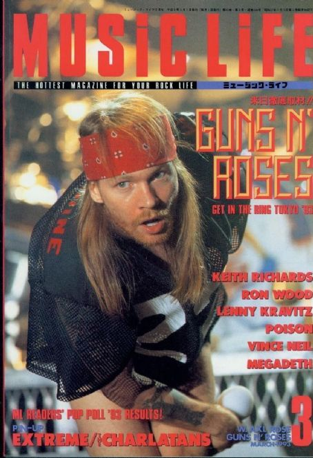 W. Axl Rose - Music Life Magazine Cover [Japan] (March 1993)