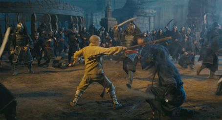 Noah Ringer  (left) plays the heroic Aang in the Paramount Pictures/Nickelodeon Movies adventure, 'The Last Airbender.' Photo credit: Industrial Light & Magic. Copyright © 2010 Paramount Pictures Corporation. All Rights Reserved.