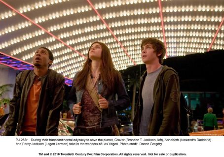 Alexandra Daddario During their transcontinental odyssey to save the planet, Grover (Brandon T. Jackson, left), Annabeth () and Percy Jackson (Logan Lerman) take in the wonders of Las Vegas. Photo credit: Doane Gregory. ©2010 Twentieth Century Fox Film Cor