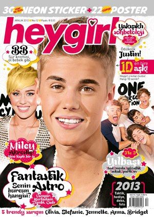 Liam Payne, Harry Styles, Zayn Malik, Niall Horan, Louis Tomlinson, Miley Cyrus, Justin Bieber - Hey Girl Magazine Cover [Turkey] (December 2012)