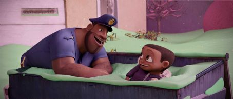 Mr. T 'Earl Deveraux' voiced by  and 'Cal Deveraux' voiced by Bobb'e J Thompson in Columbia Pictures' animated film CLOUDY WITH A CHANCE OF MEATBALLS. Photo By:  Courtesy of Sony Pictures Animation. ©2009 Columbia TriStar Marketing