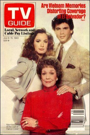 Falcon Crest Ana Alicia, Jane Wyman and Lorenzo Lamas grace 1983 TV Guide Magazine
