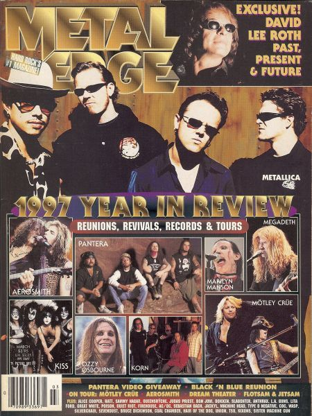 James Hetfield, Kirk Hammett, Lars Ulrich, Jason Newsted - Metal Edge Magazine Cover [United States] (March 1998)
