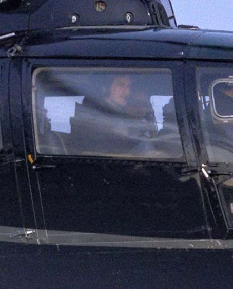 Tom Cruise returning to Reykjavik airport in a helicopter filming on his new movie in Reykjavik, Iceland (June 30)