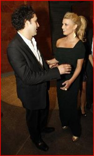 George Maloof  and Jessica Simpson Grand opening Palace Place Hotel and Spa May 21, 2008.