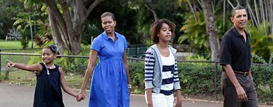Barack Obama and Michelle Obama - Family Outing