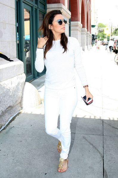 Eva Longoria: out in all white attire in New York City