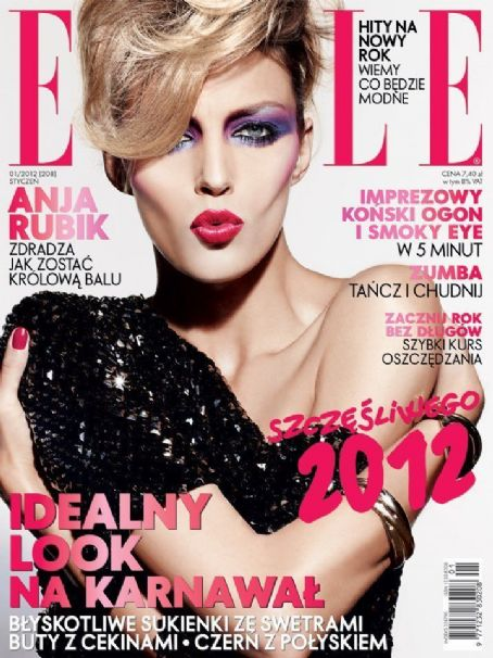 Anja Rubik - Elle Magazine Cover [Poland] (January 2012)