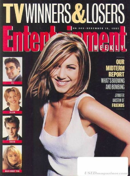 Luke Perry, Jennifer Aniston, Helen Hunt - Entertaiment Weekly Magazine Cover [United States] (15 December 1995)