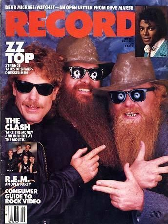 Frank Beard, Dusty Hill, Billy Gibbons - Record Magazine Cover [United States] (June 1984)