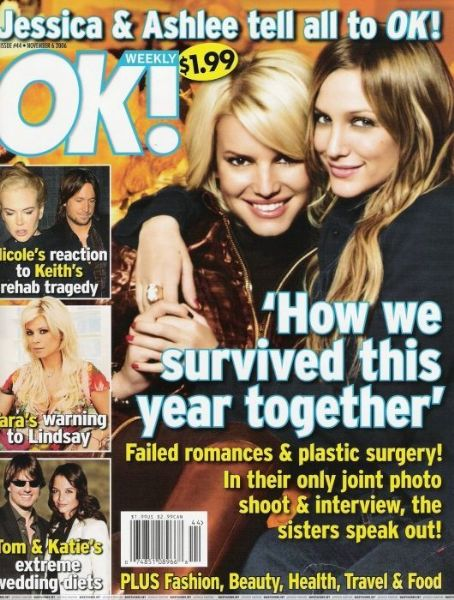 Ashlee Simpson, Jessica Simpson - OK! Magazine Cover [United States] (6 November 2006)