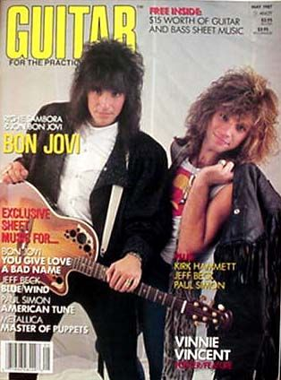Richie Sambora, Jon Bon Jovi - Guitar For The Practising Magazine Cover [United States] (5 May 1987)