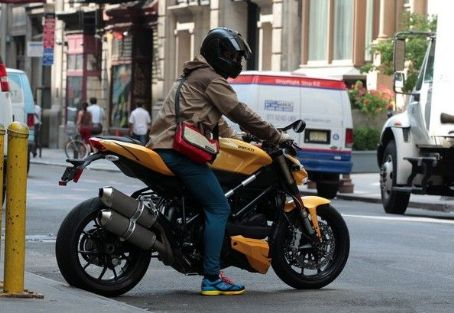 Orlando Bloom ride motorcycle in New York.June 28, 2012
