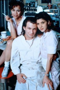 Caroline Christian Slater as Adam, Marisa Tomei as  and Rosie Perez as Cindy in Untamed Heart  (1993)