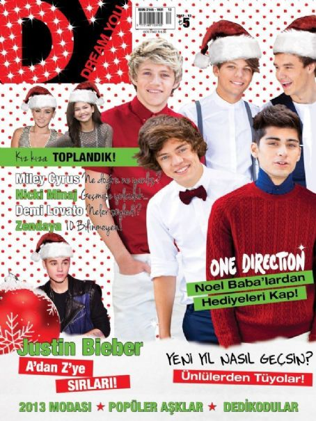 Liam Payne, Harry Styles, Zayn Malik, Niall Horan, Louis Tomlinson, Miley Cyrus, Demi Lovato, Justin Bieber - Dream You Magazine Cover [Turkey] (December 2012)