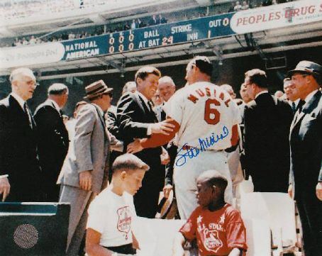 John F. Kennedy - President  Kennedy with Stan Musial at ball game